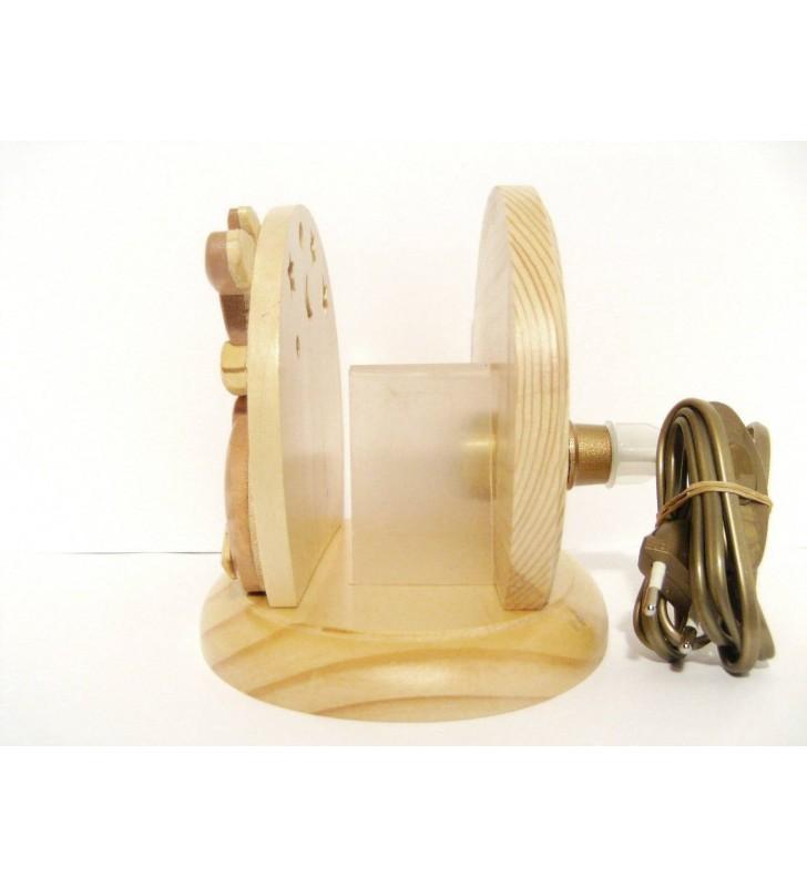 Lampe de chevet veilleuse en bois avec prénom, Lapins