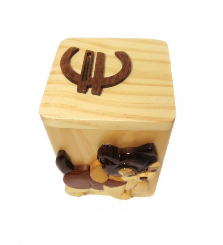 Chat, Tirelire en bois