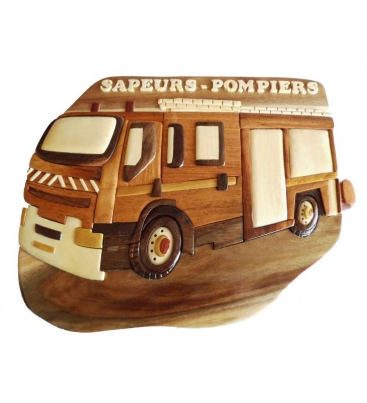 Décor mural intarsia en bois personnalisable, Camion de Pompier