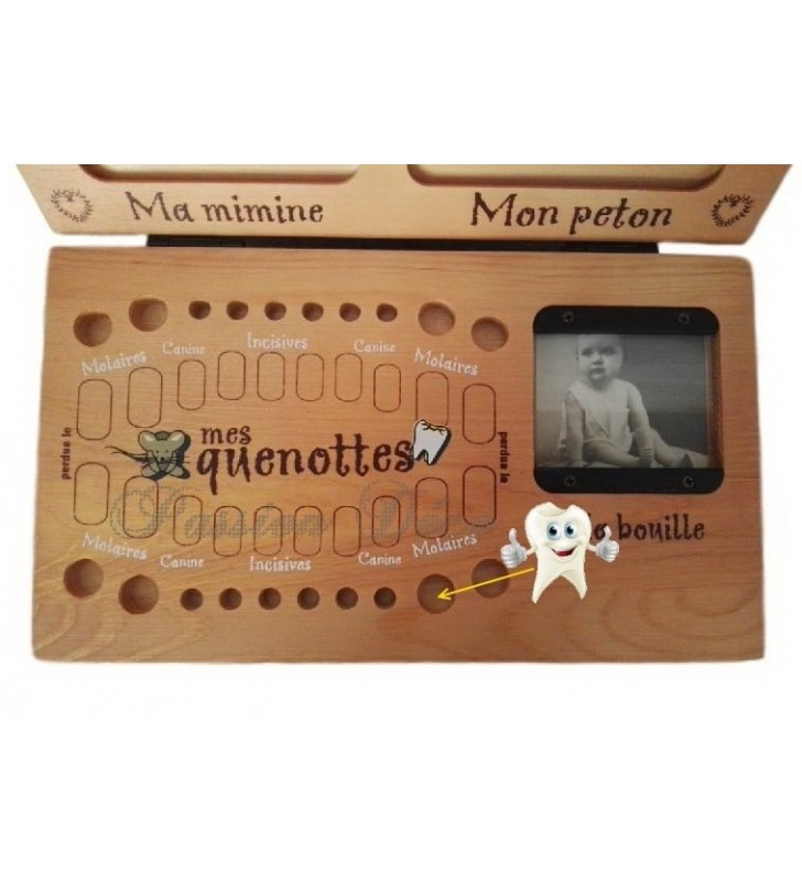 Grande boîte à dents avec emplacements pour les dents de lait et les dates