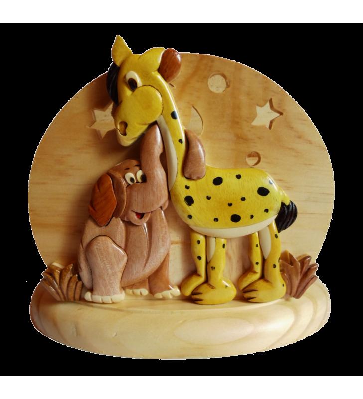 Lampe chevet veilleuse en bois avec prénom, Girafe et Eléphant