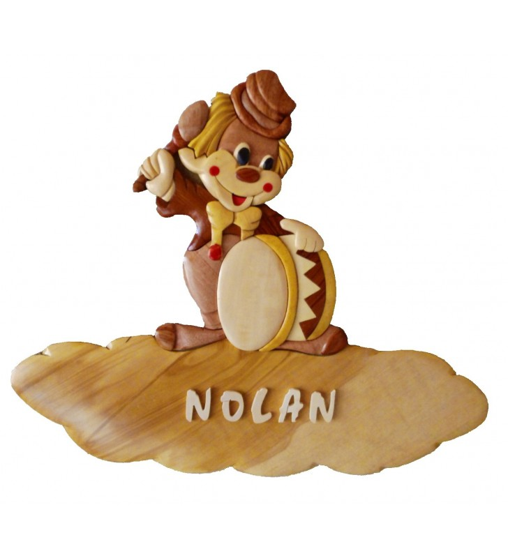 Plaque de porte pr nom en bois clown passion deco - Plaque de porte prenom ...