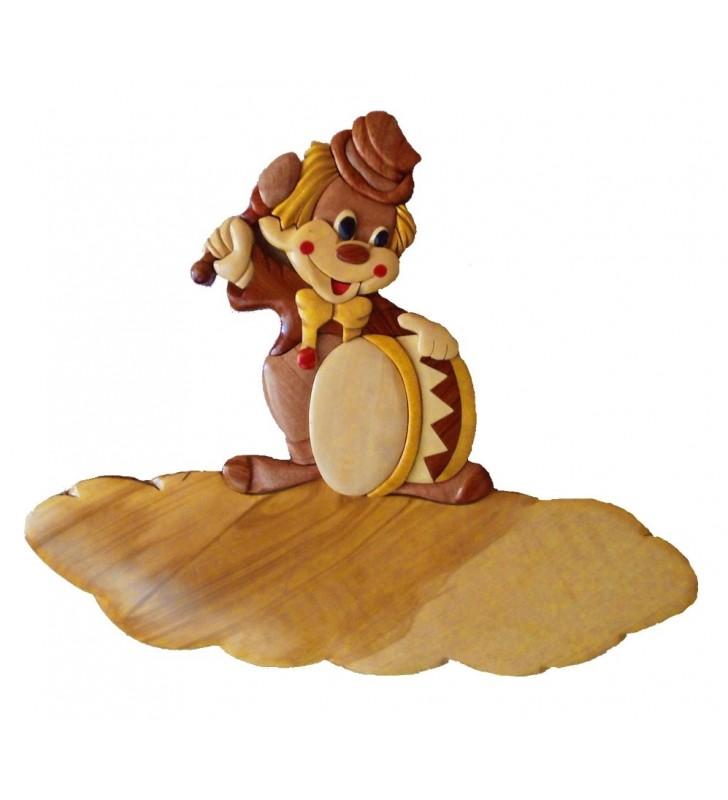 Plaque de porte prénom en bois, Clown