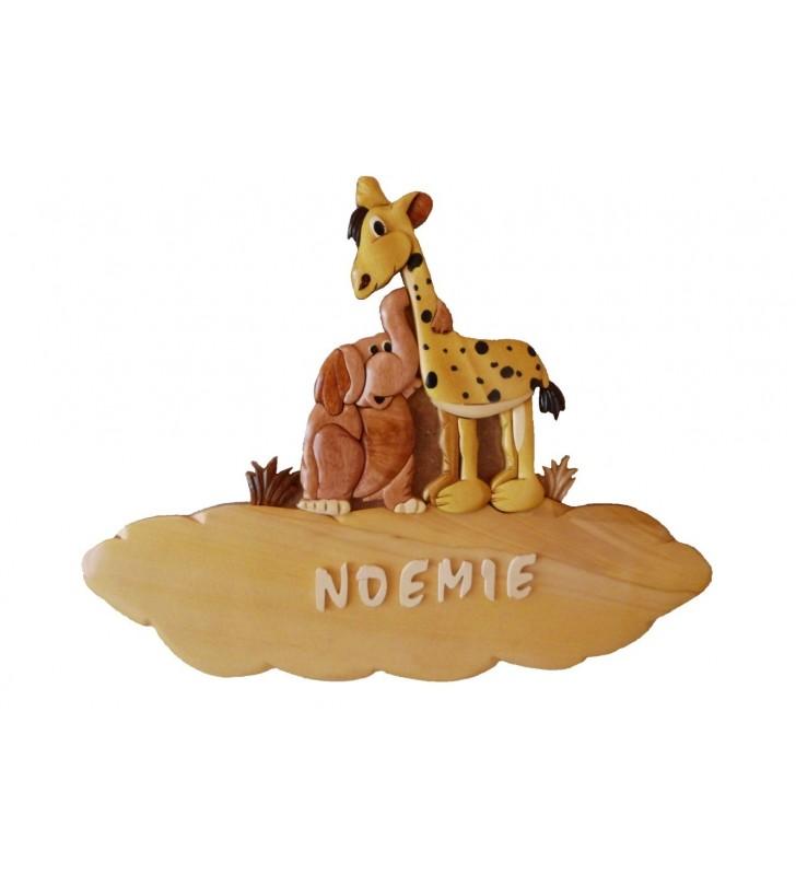 Plaque de porte prénom en bois, Girafe / Eléphant
