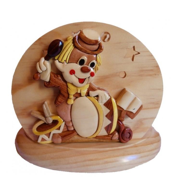 Lampe de chevet veilleuse en bois avec prénom, Clown