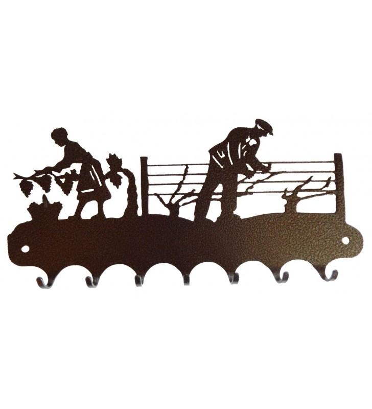 Accroche-clés en ferronnerie d'art - Motif Vendangeurs - coloris noir