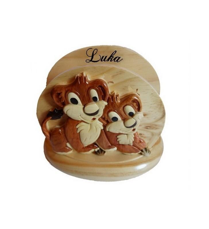 Lampe de chevet veilleuse en bois avec prénom, Lion