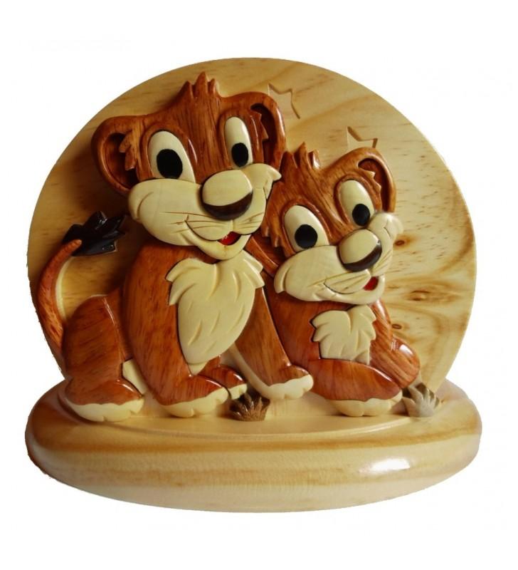 Lampe de chevet veilleuse en bois, Lions