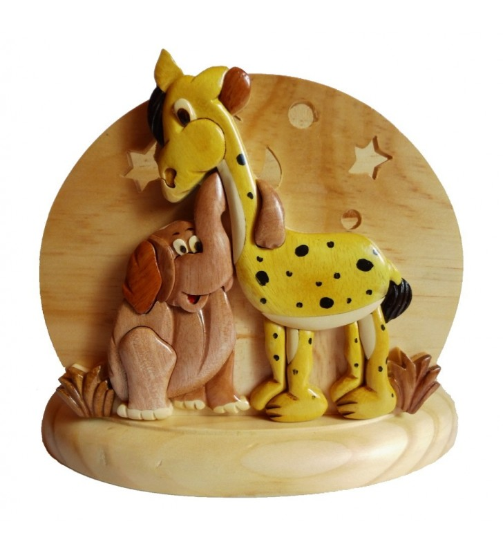 Lampe de chevet veilleuse en bois, Girafe et Eléphant