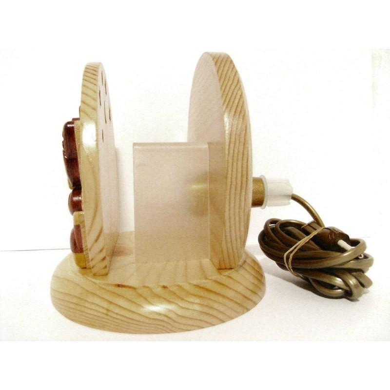 Lampe de chevet veilleuse en bois, Chat et Chaton
