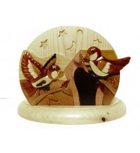 Lampe de chevet veilleuse en bois, de forme originale, motif Oiseaux