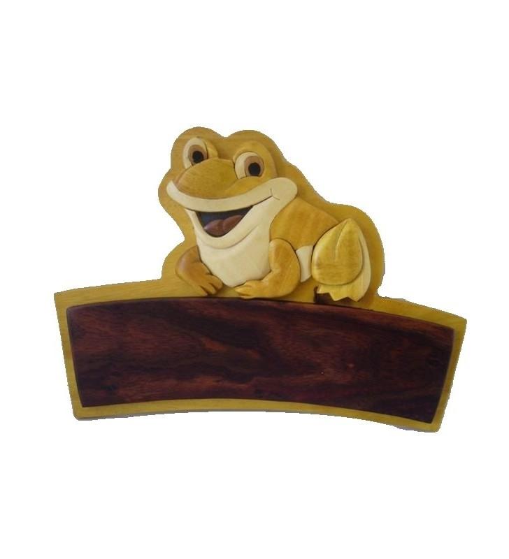 Plaque de porte prénom en bois, Grenouille