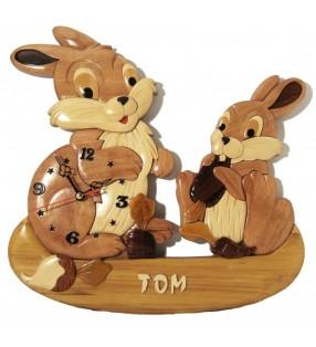 Horloge avec prénom en bois, Lapins, déco pour chambre enfant