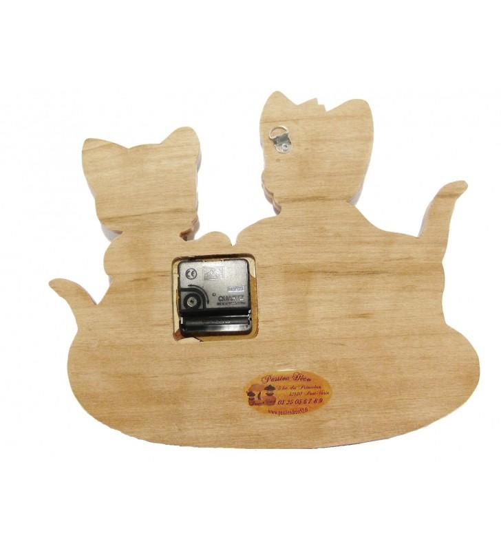Horloge avec prénom en bois, Chats, déco pour chambre enfant