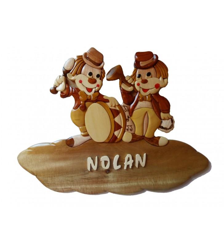 Plaque de porte prénom en bois, Clowns musiciens