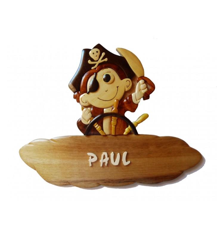 Plaque de porte pr nom en bois petit pirate passion deco - Plaque de porte prenom ...