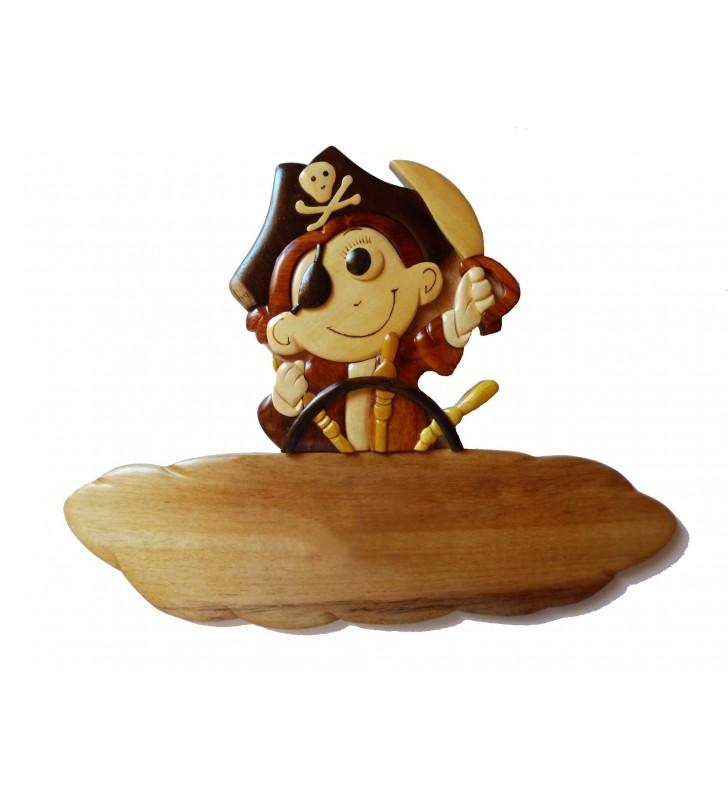Plaque de porte prénom en bois, Petit Pirate