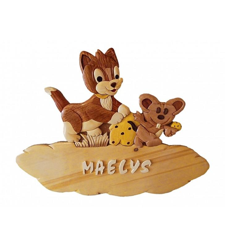 Plaque de porte prénom en bois, Chat / Souris