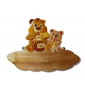 Plaque de porte prénom en bois, Ours / Ourson