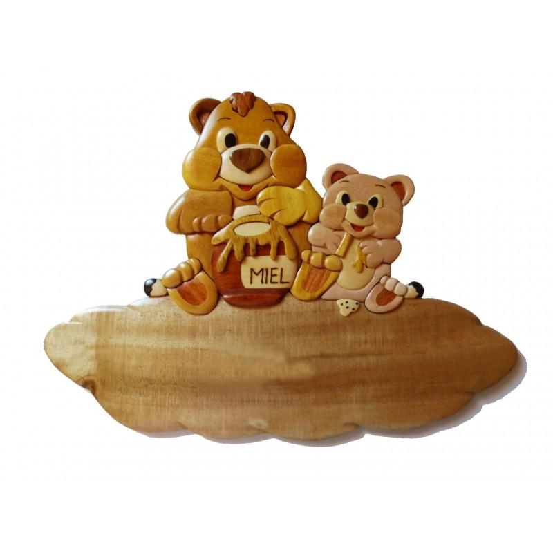 Plaque de porte pr nom en bois ours et ourson passion deco - Plaque de porte prenom ...
