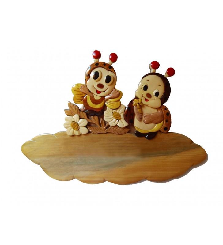 Plaque de porte prénom en bois, Abeille / Coccinelle