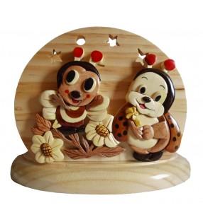 Lampe de chevet veilleuse en bois, Abeille et Coccinelle