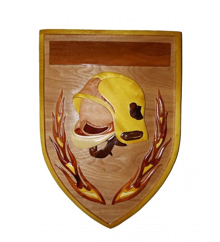 Décor mural intarsia personnalisable, Ecusson de Pompier