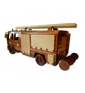 Maquette Camion de Pompier en bois, déco pour collectionneurs