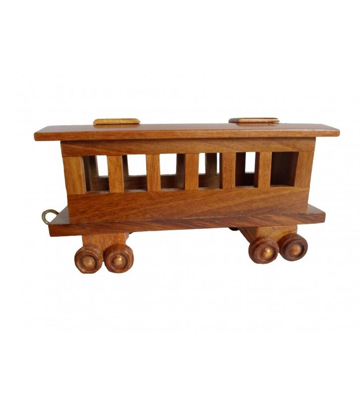 Maquette Train et sa locomotive à vapeur, en bois, déco pour collectionneurs