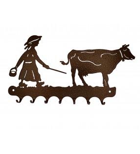 Accroche-clés, décor en métal, Gardienne de vache
