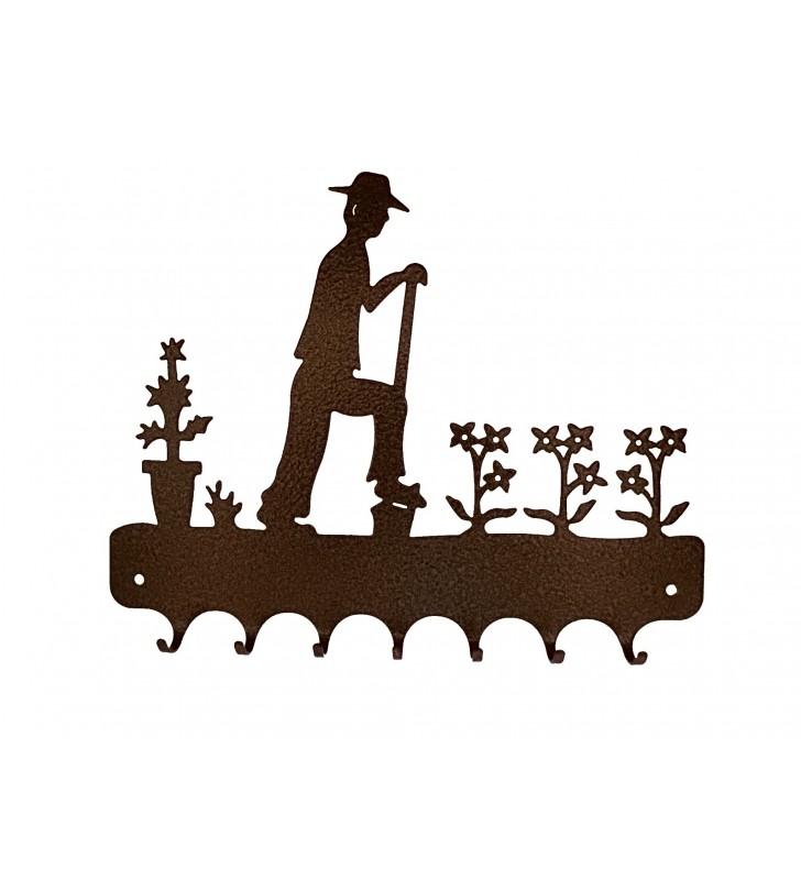 Accroche-clés, décor en métal, Jardinier