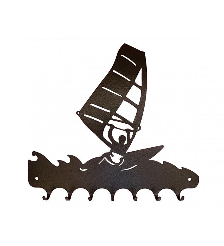 Accroche-clés, décor en métal, Planche à voile