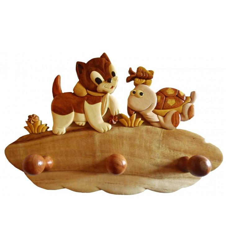 Porte-manteau en bois pour enfant, Chat / Tortue