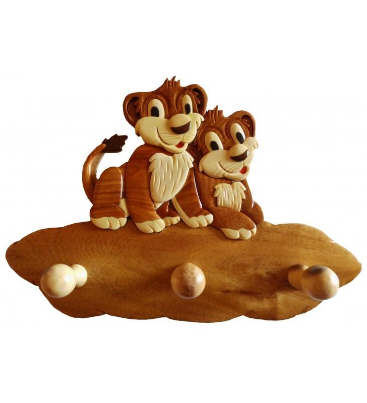 Porte-manteau en bois pour enfant, Lions