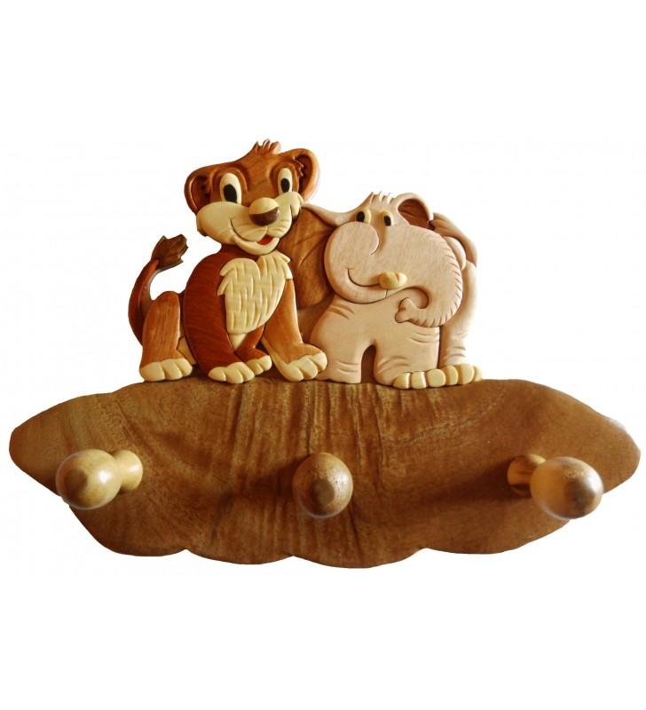 Porte-manteau en bois pour enfant, Lion et Eléphant