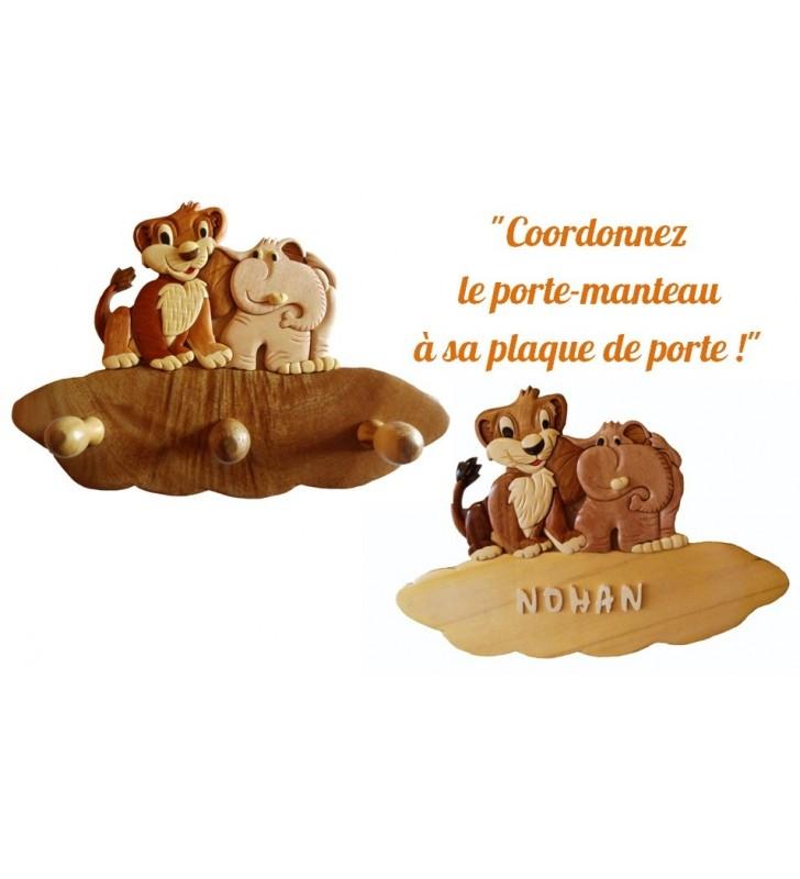 Porte-manteau en bois pour enfant, Lion et Eléphant, et sa plaque de porte assortie