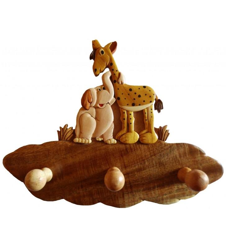 Porte-manteau en bois pour enfant, Girafe et Eléphant