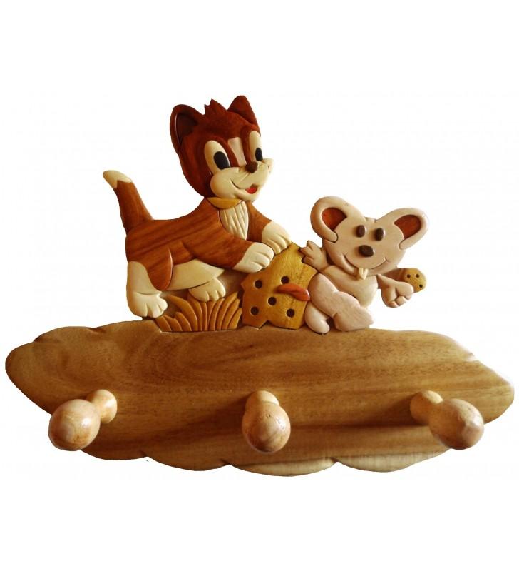 Porte-manteau en bois pour enfant, Chat / Souris