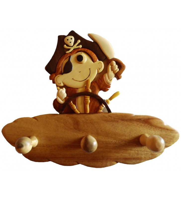 Porte-manteau en bois pour enfant, Petit Pirate