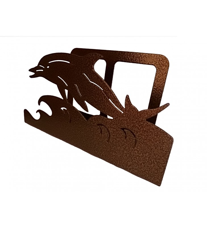Porte-courrier, décor en métal, Dauphin