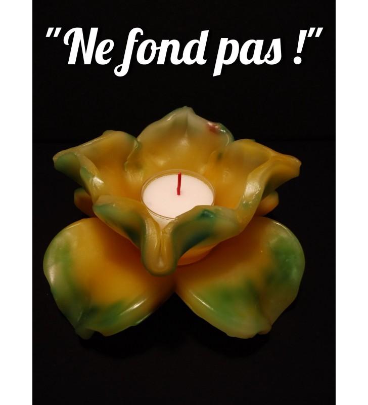 Décor de table original, fleur de bougie jaune / vert