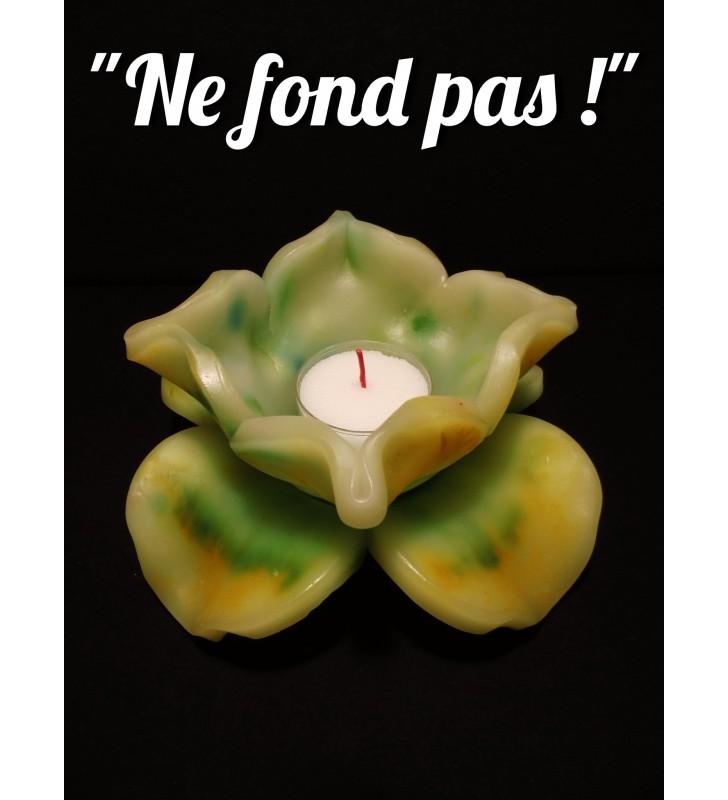 Décor de table original, fleur de bougie vert / jaune
