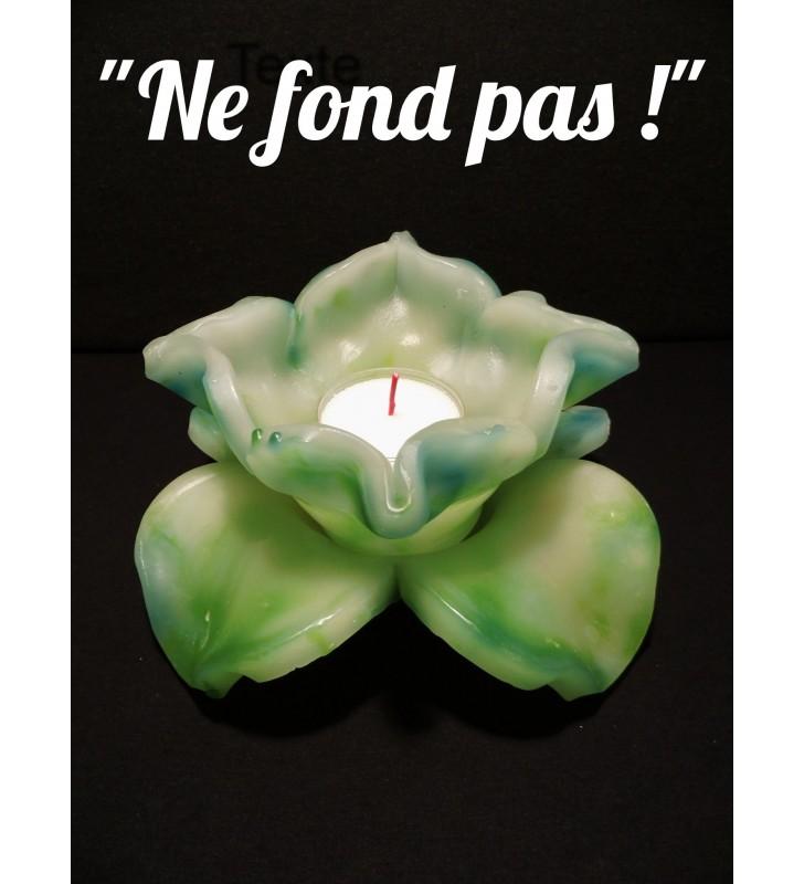 Décor de table original, fleur de bougie vert clair