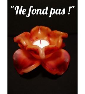 Fleur de bougie orange / cerise