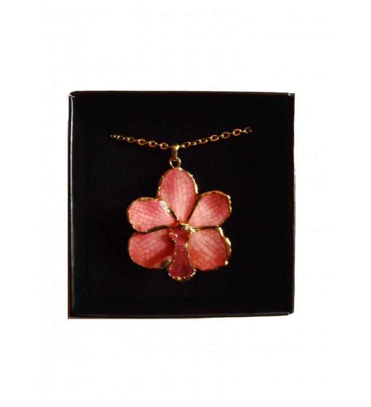 Bijou orchidée Rose, présenté dans son écrin de velours noir