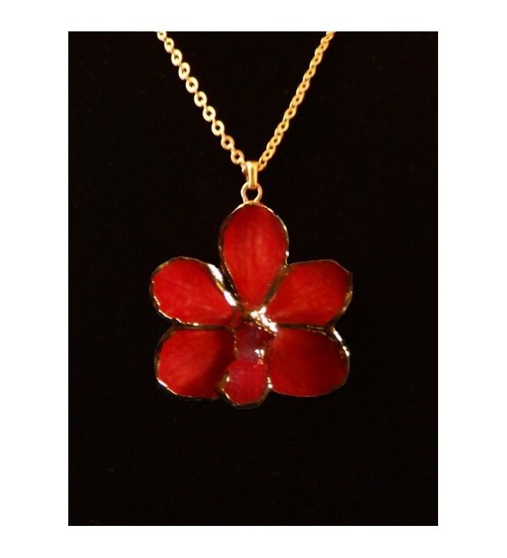 Bijou fantaisie original doré, fleur orchidée Asconcenda, Rouge