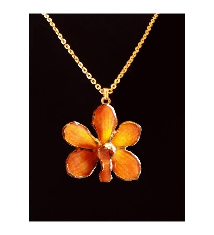 Bijou fantaisie original doré, fleur orchidée Asconcenda, Orange