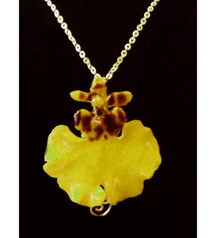 Bijou original doré, fleur orchidée Oncidium, Jaune