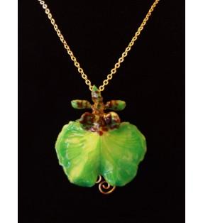 Bijou original doré, fleur orchidée Oncidium, Verte