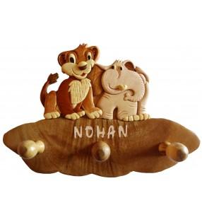 Porte-manteau enfant en bois personnalisé, Lion / Eléphant